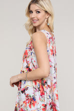 Load image into Gallery viewer, Ivory and Pink Floral Abstract Swing Tank Tunic