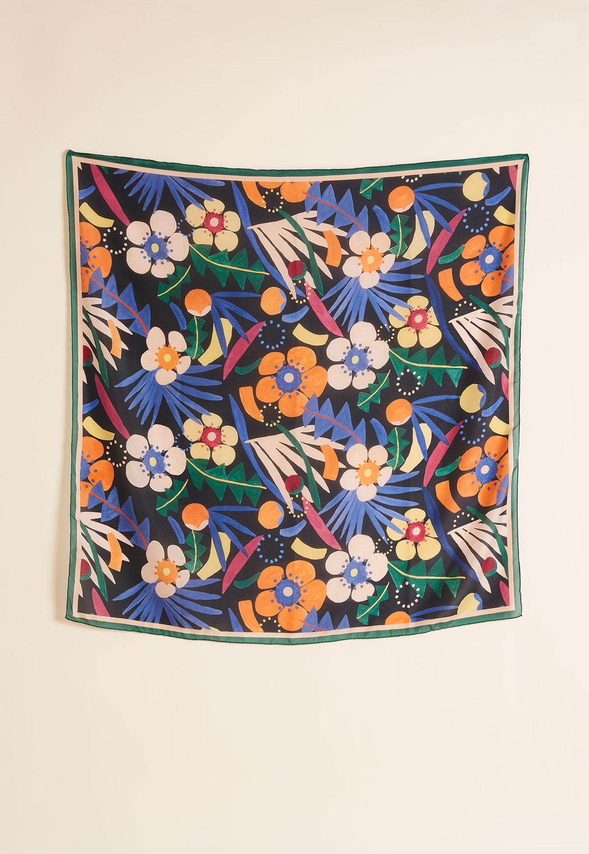 Silk Square Scarf - Night Garden