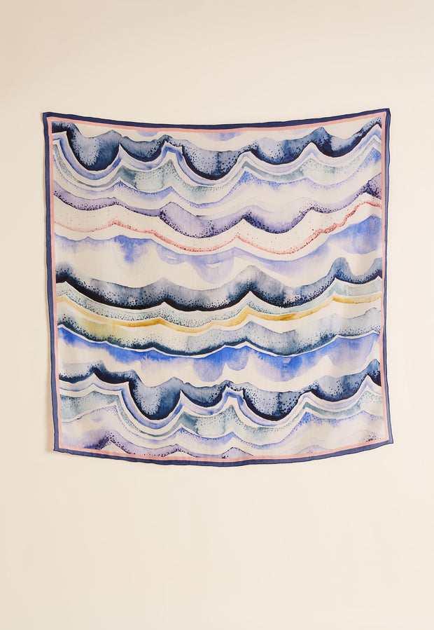 Silk Square Scarf - Mineral Lines