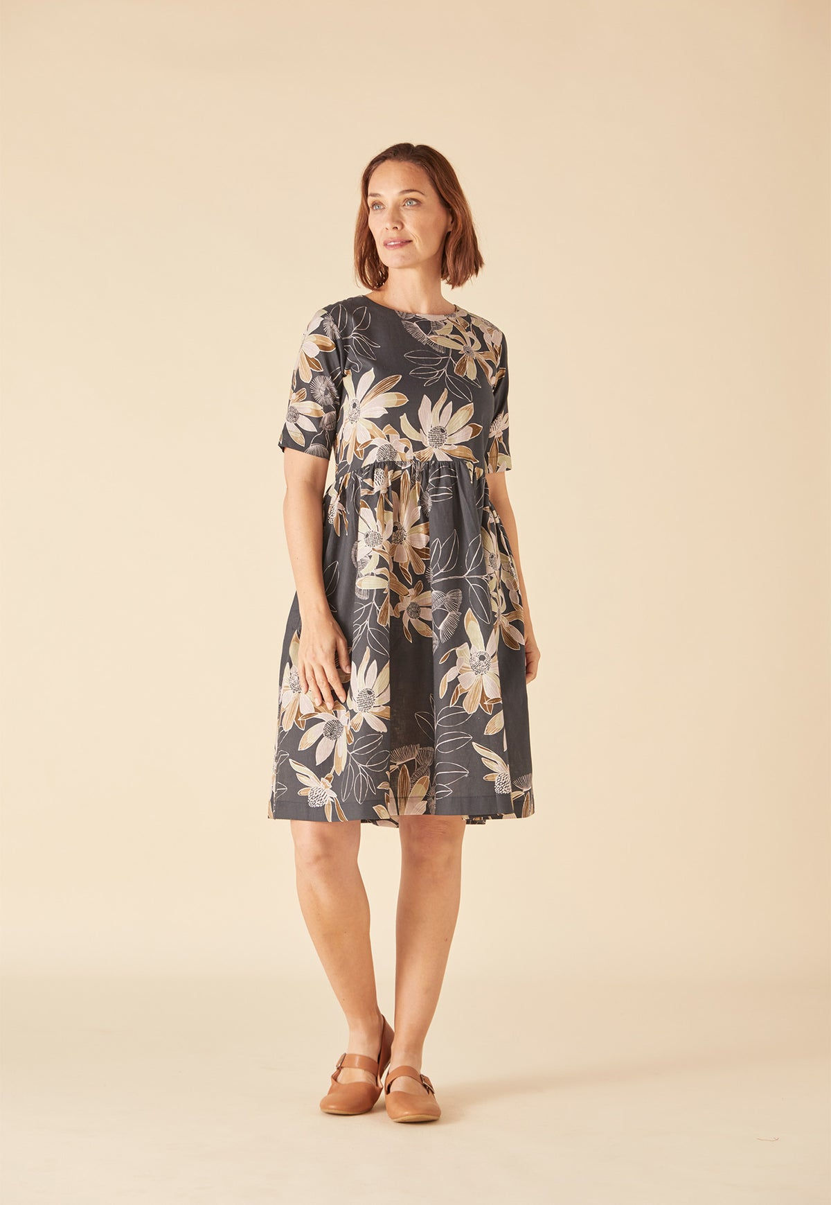 Tidal Dress - Charcoal Floral