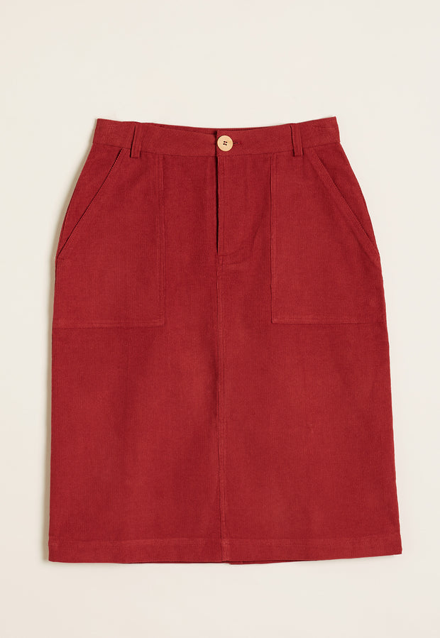 Corduroy Skirt - Deep Red