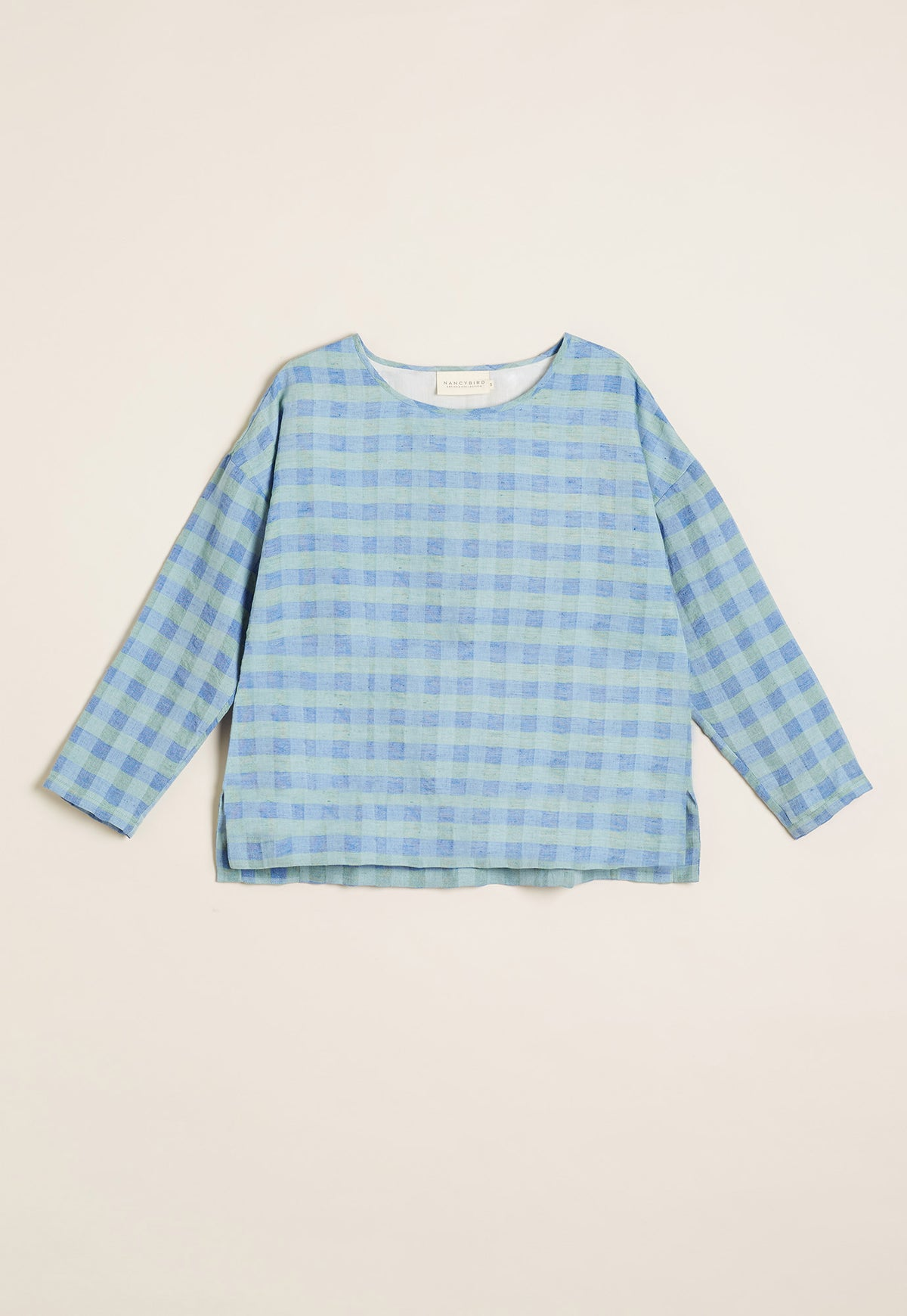 Drawstring Top - Blue Check