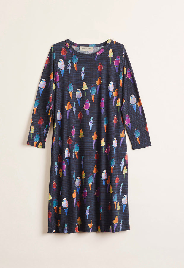 Allee Dress - Navy Budgies