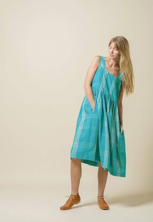 Pinafore Dress - Aqua Woven