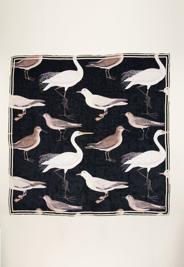 Silk Square Scarf - Botanical Bird