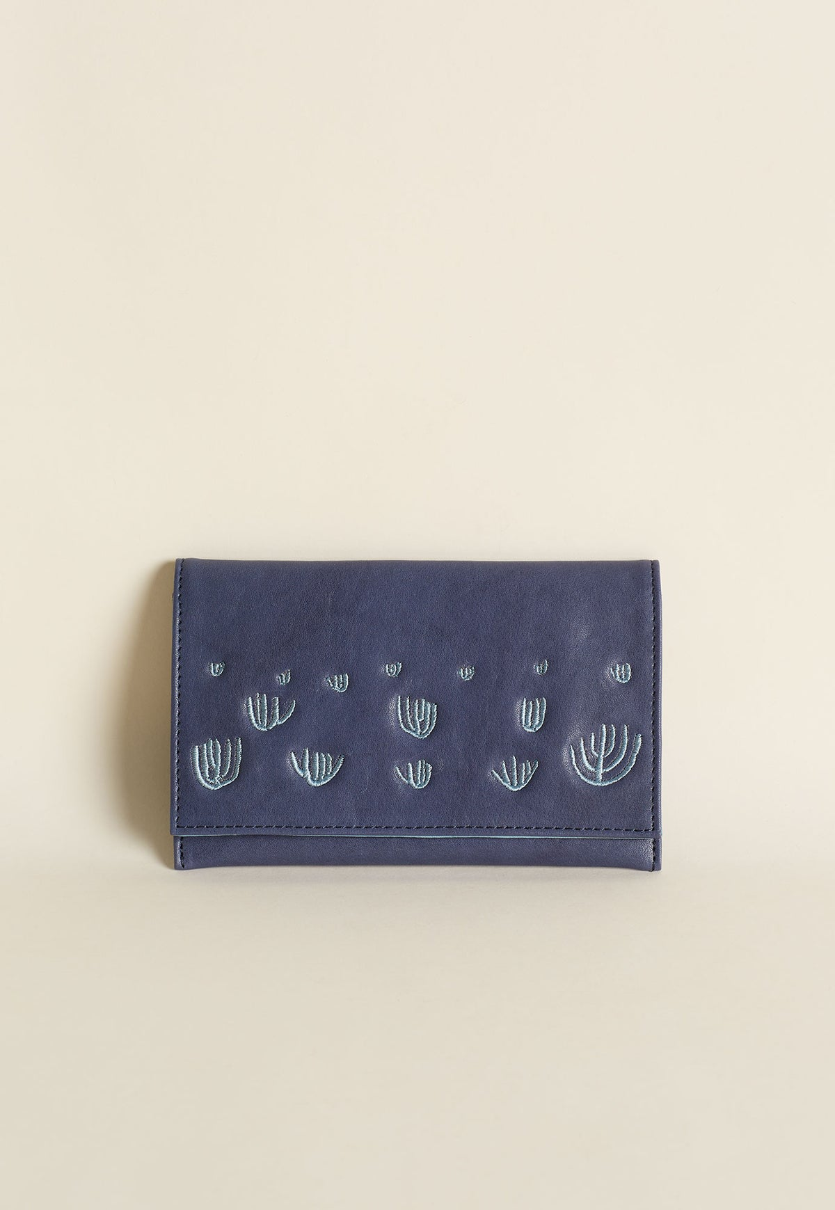Embroidered Wallet - Indigo