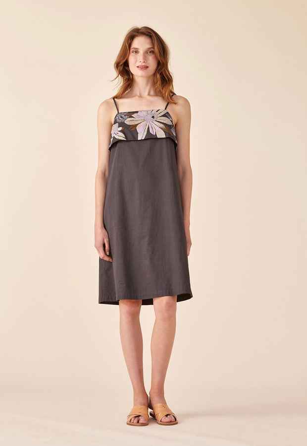Embroidered Dress - Charcoal Floral