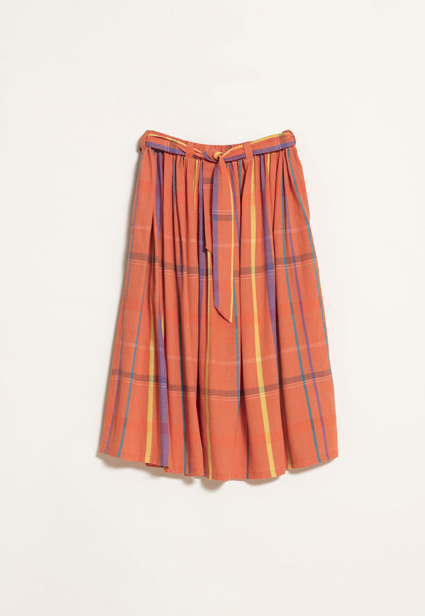 Gathered Skirt - Orange Check