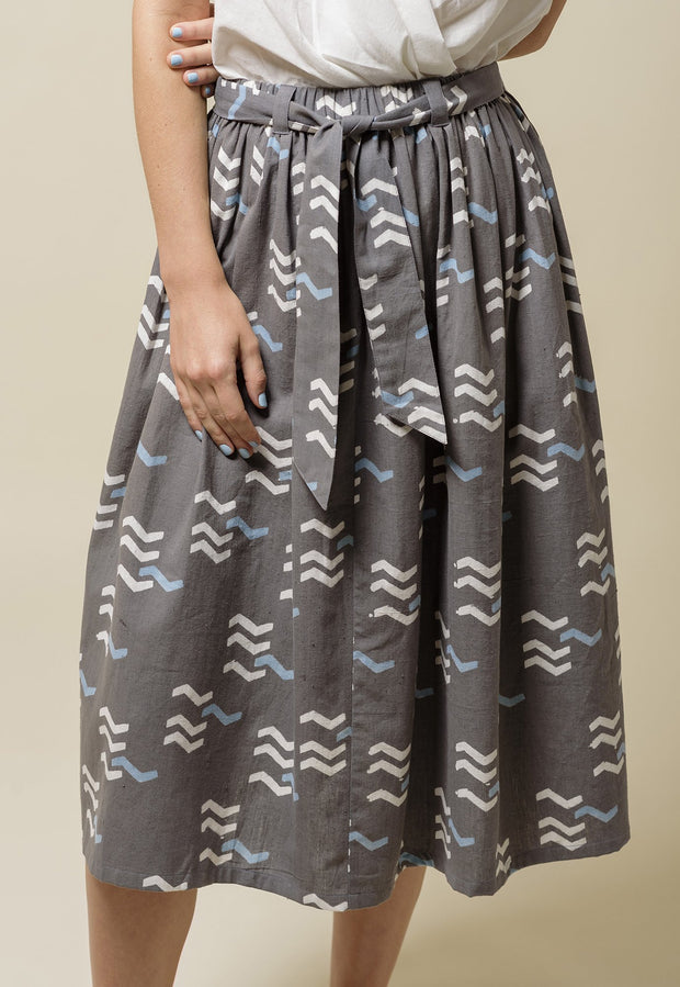 Gathered Skirt - Grey Tracks