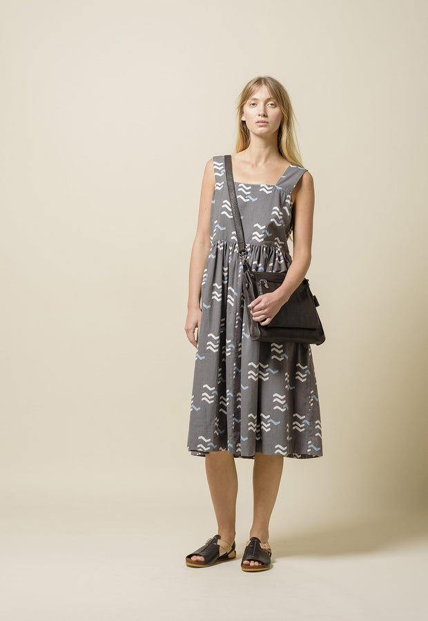 Pinafore Dress - Grey Tracks