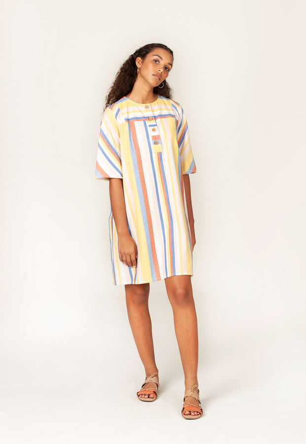 Mooloolaba Dress - Coral Stripe