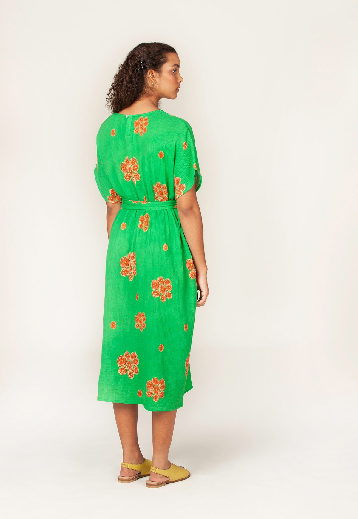 Tallows Dress - Posy Coral Green