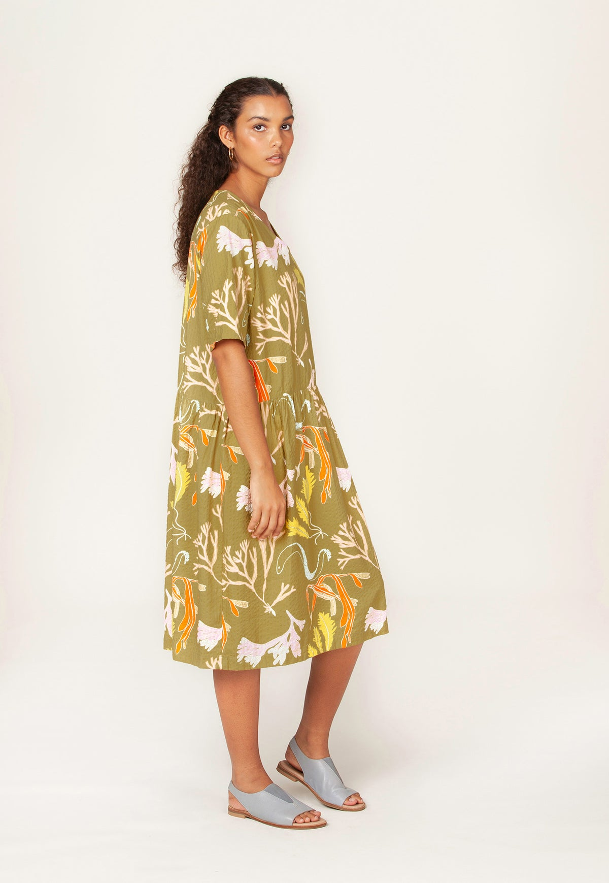 Margaret Dress - Seaweed Khaki