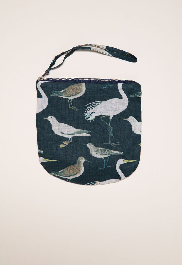 Linen Purse - Botanical Birds