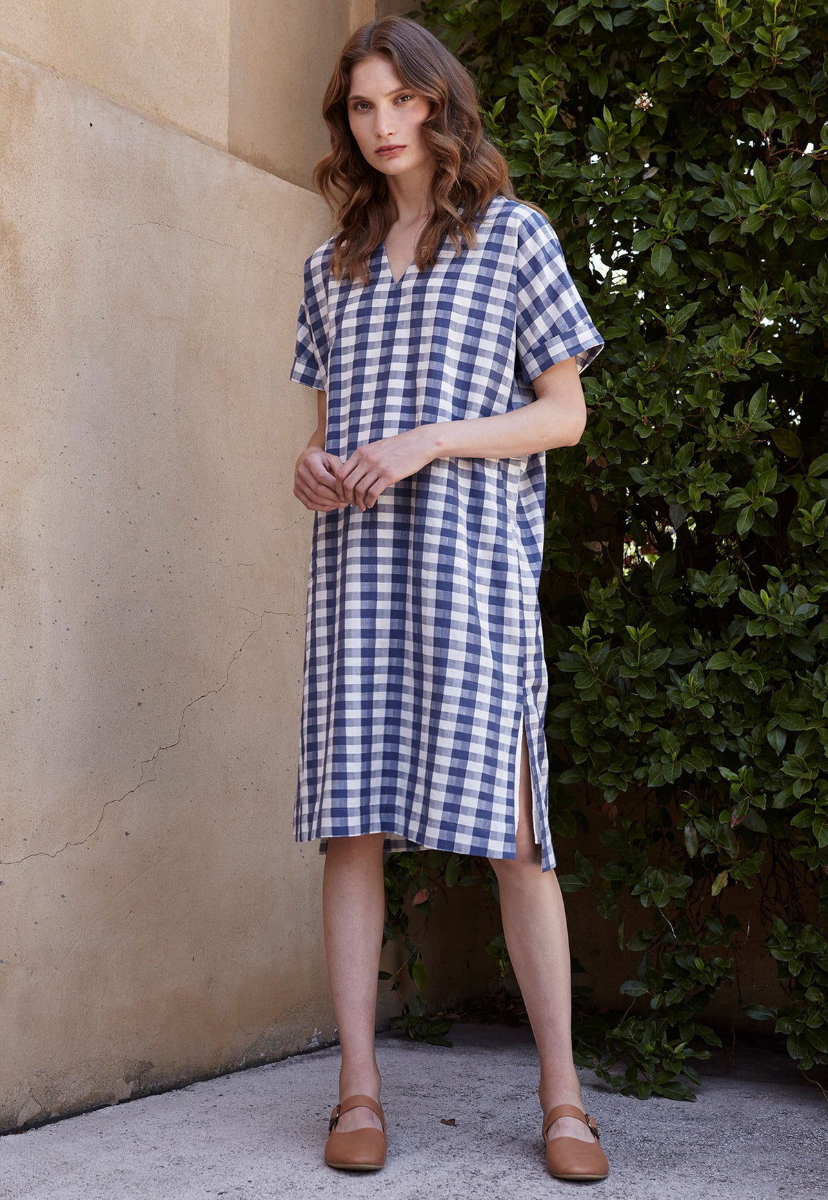 Lucknow Dress - Blue Check