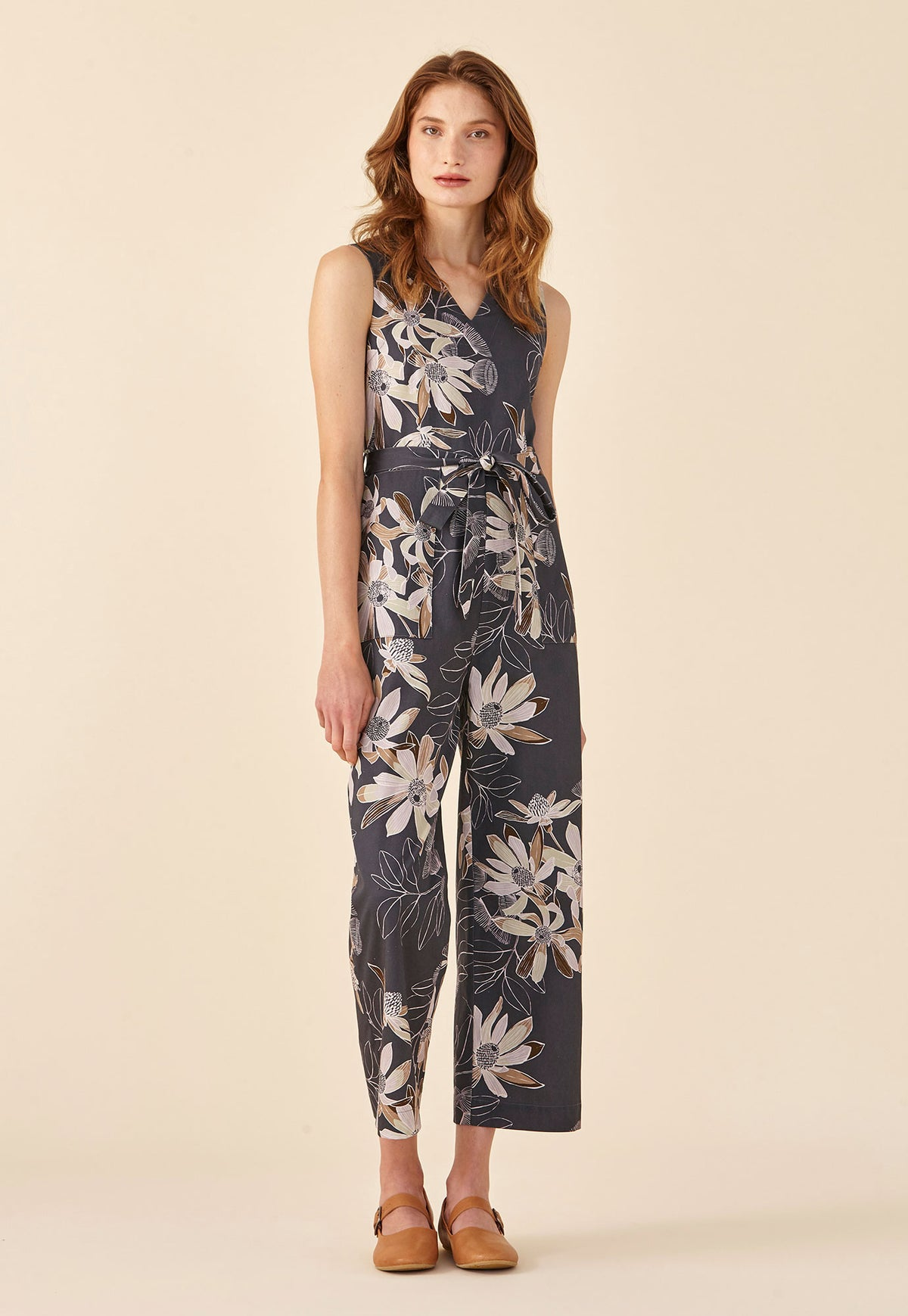 Lucy Jumpsuit - Charcoal Floral