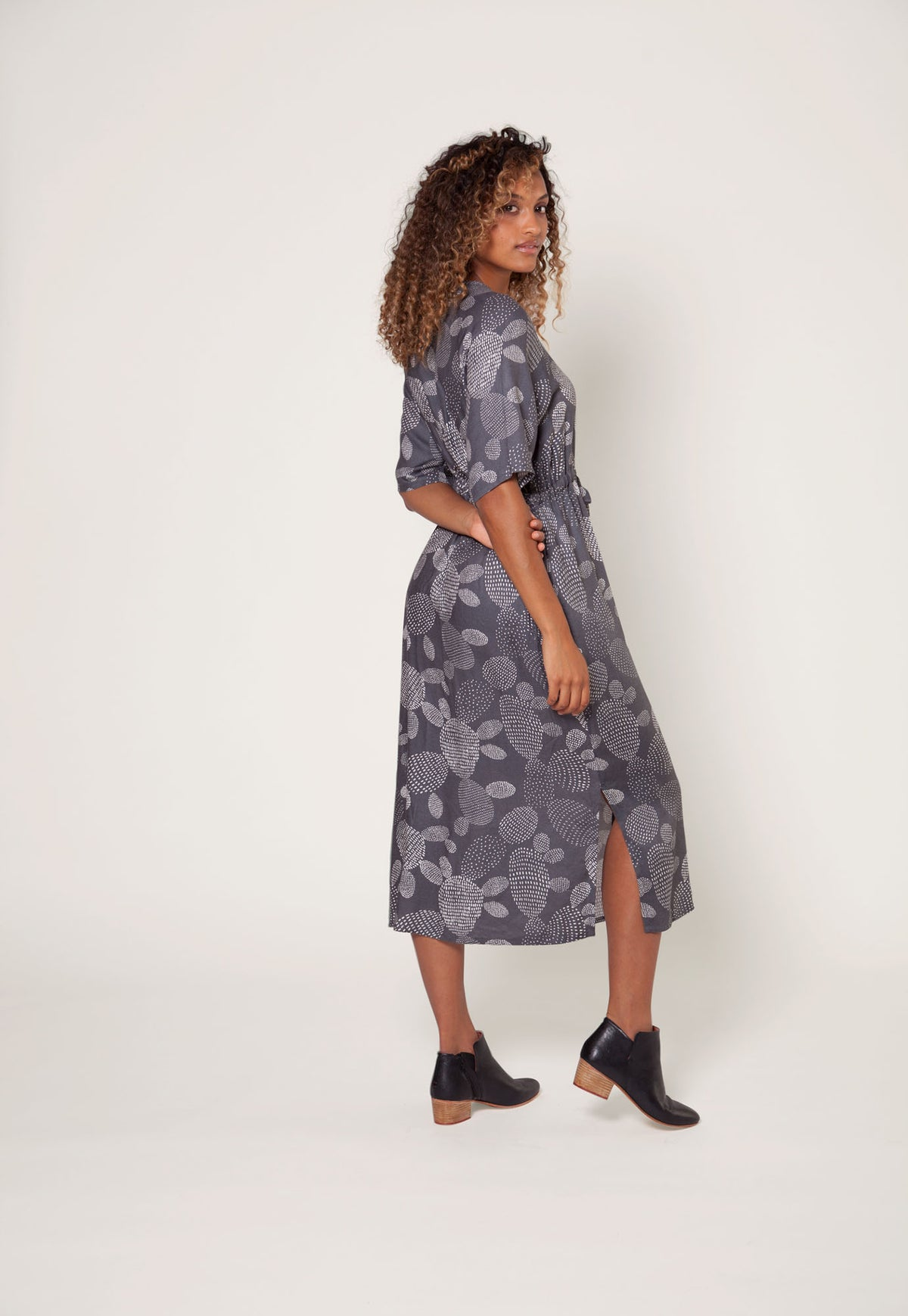 Gracie Dress - Charcoal Prickly Pear