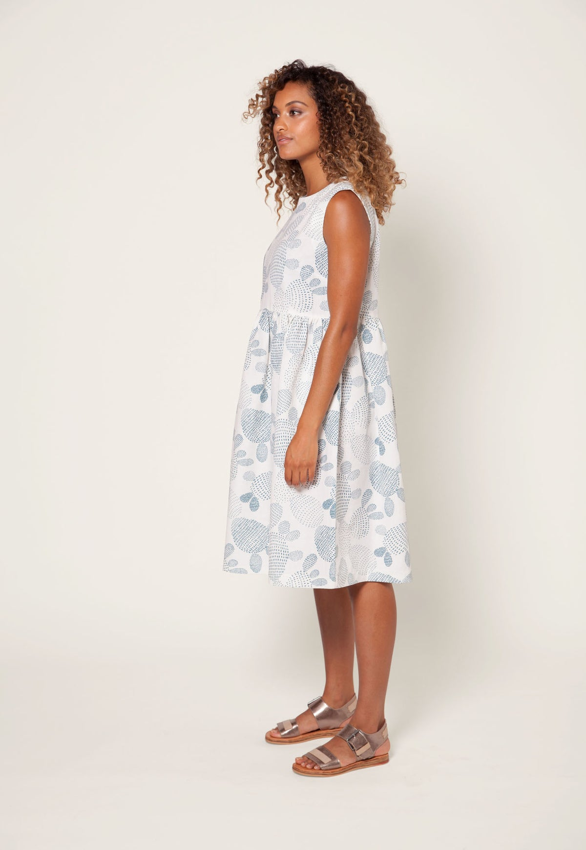 Zoe Dress - White Prickly Pear