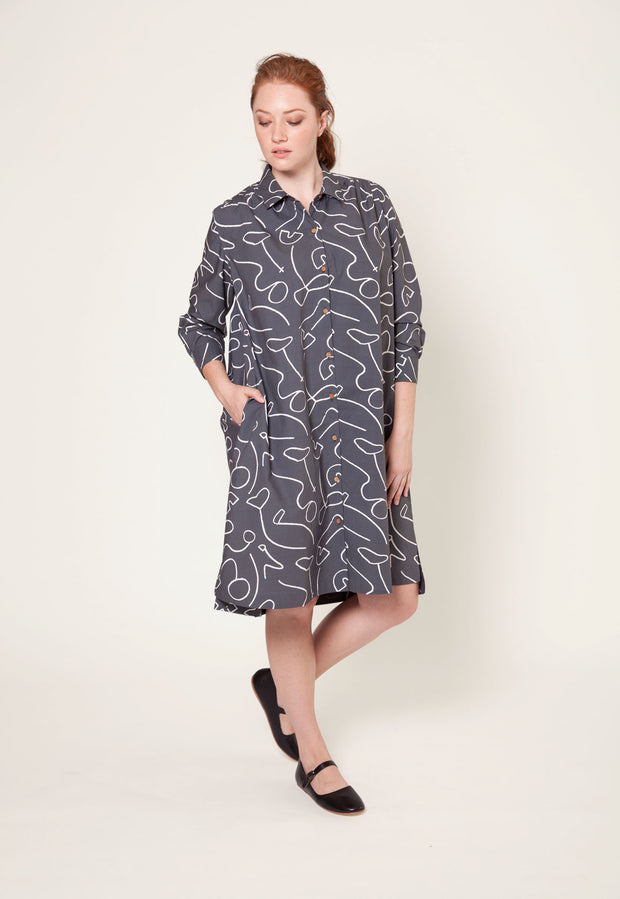 Linley Shirt Dress - Charcoal Contours