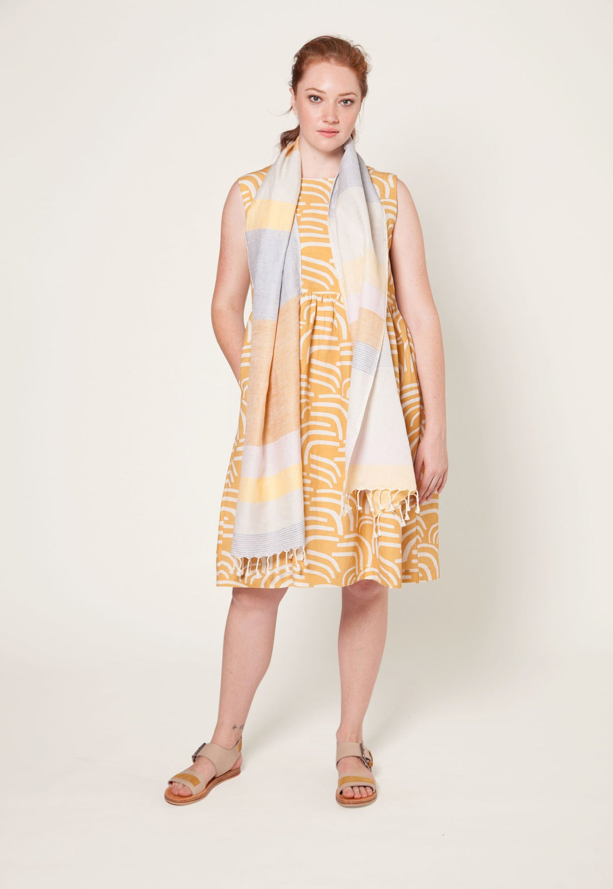 Long Scarf - Mustard Stripe