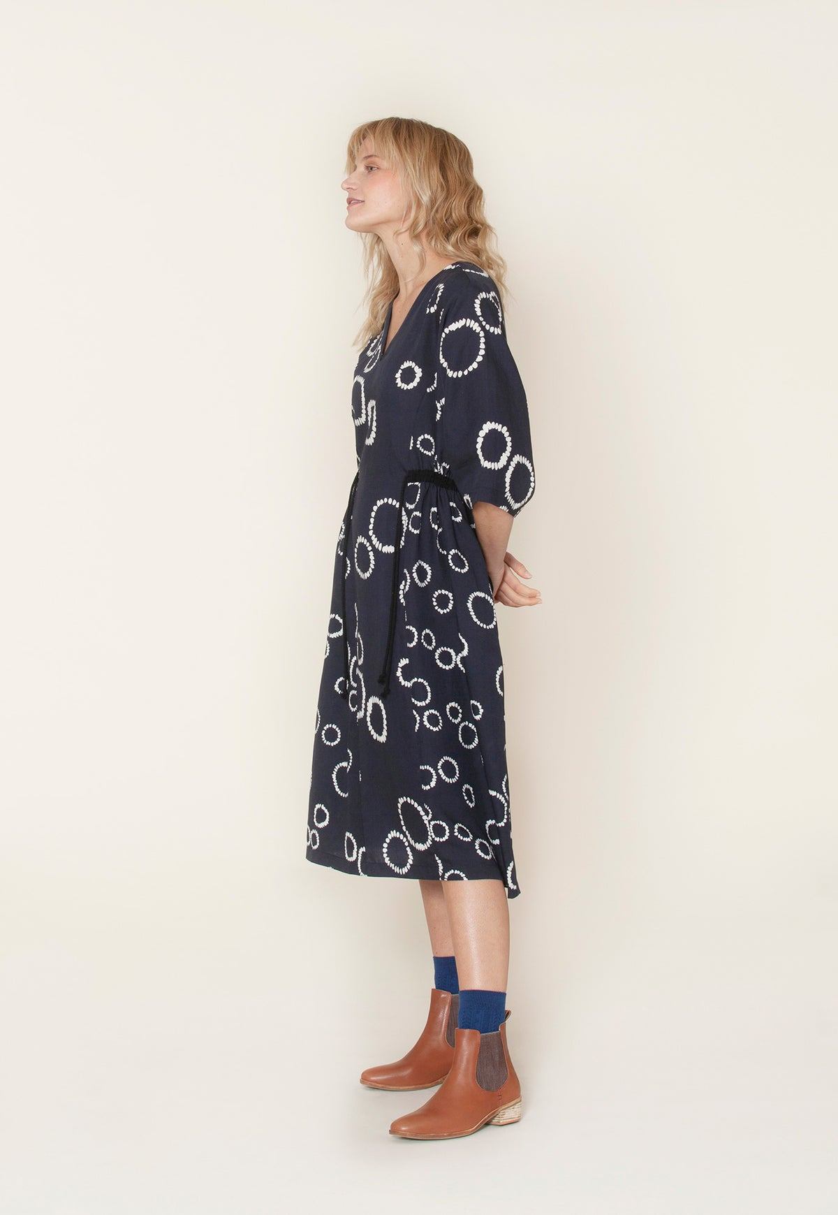 Simpson Drawstring Dress - Circle