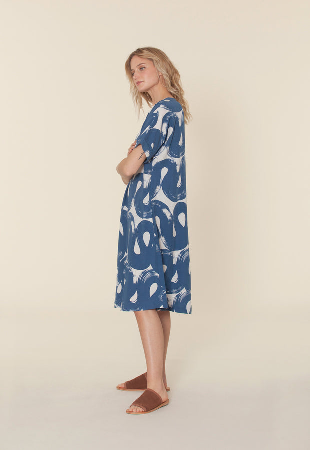 Sera Dress  - Navy Swirl