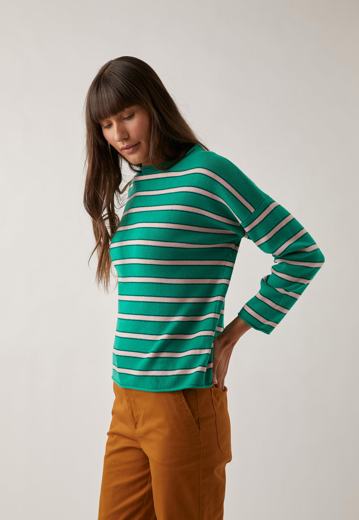 Lotus Knit - Green Stripe