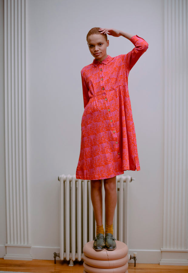 Daze Shirt Dress - Pink Spot
