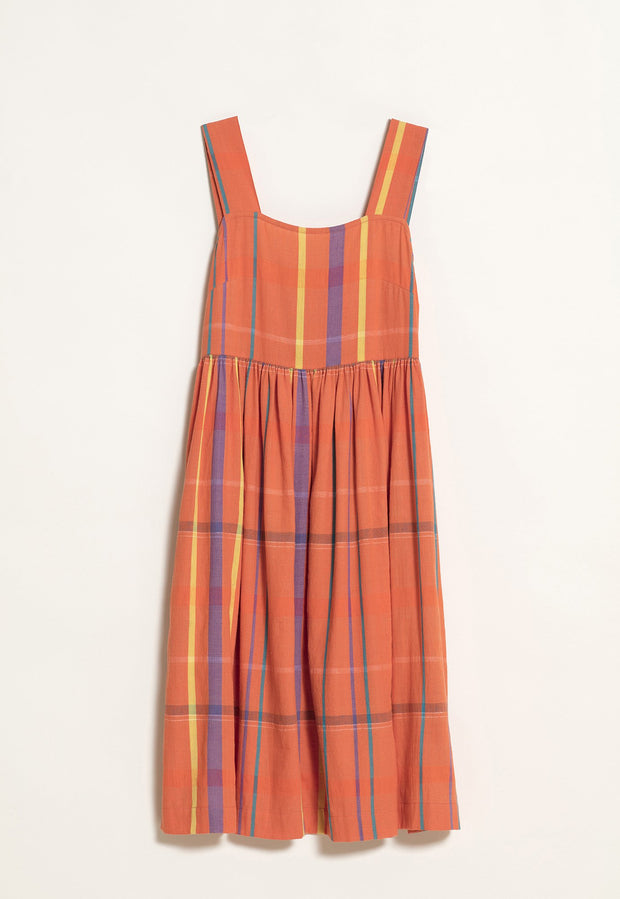Pinafore Dress - Orange Check