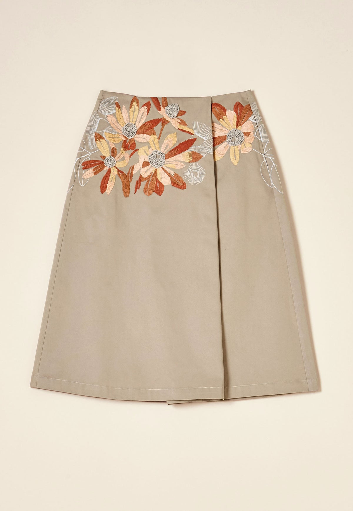 Pleat Skirt - Taupe Floral
