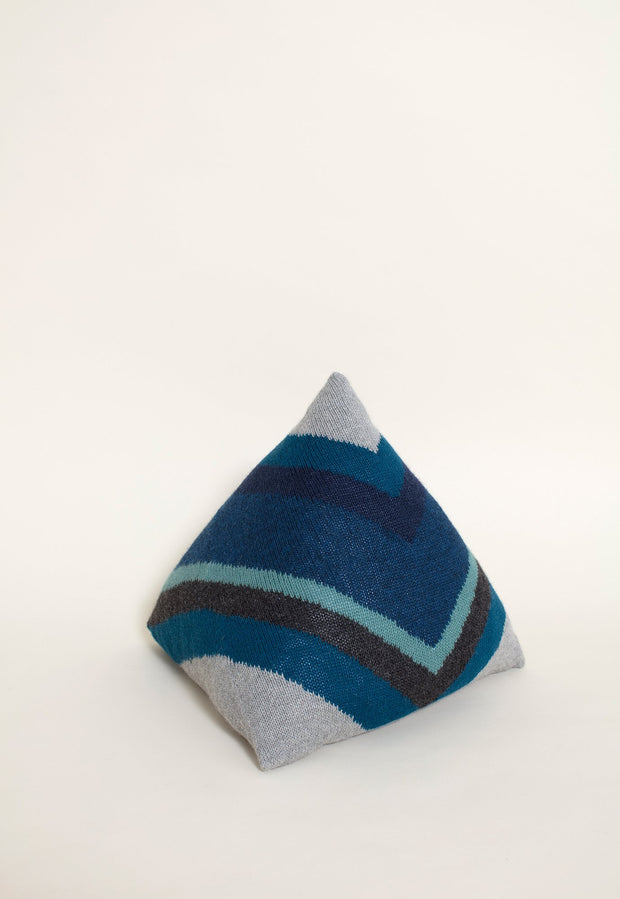 Knitted Pyramid Cushion - Azure