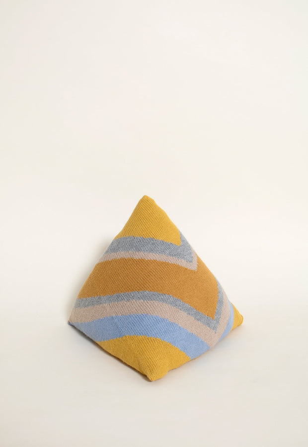 Knitted Pyramid Cushion - Gold