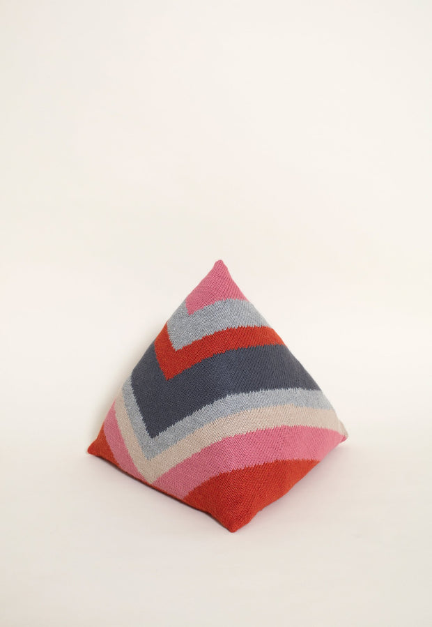Knitted Pyramid Cushion - Red