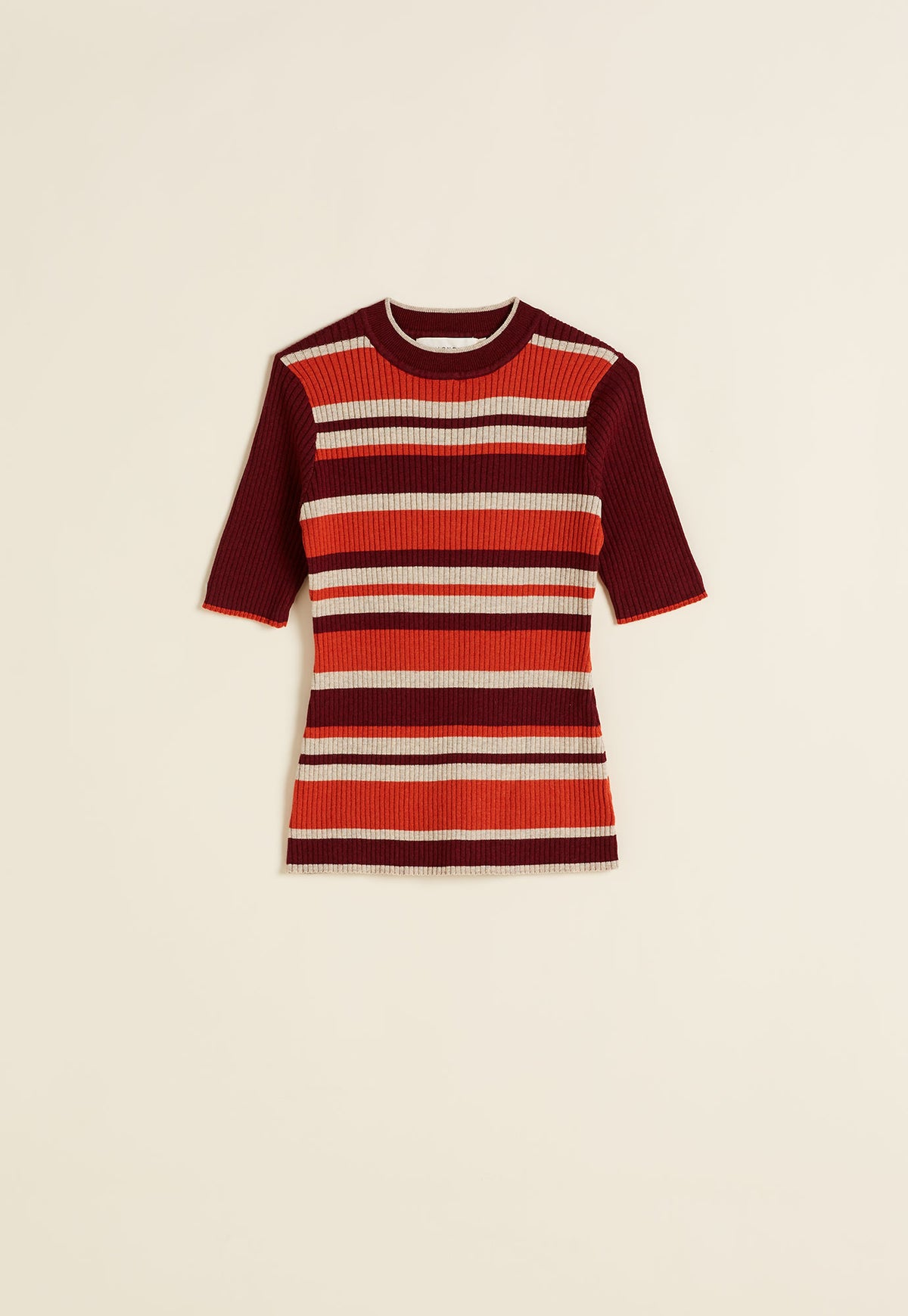 Rib Knit Short Sleeve - Dark Berry