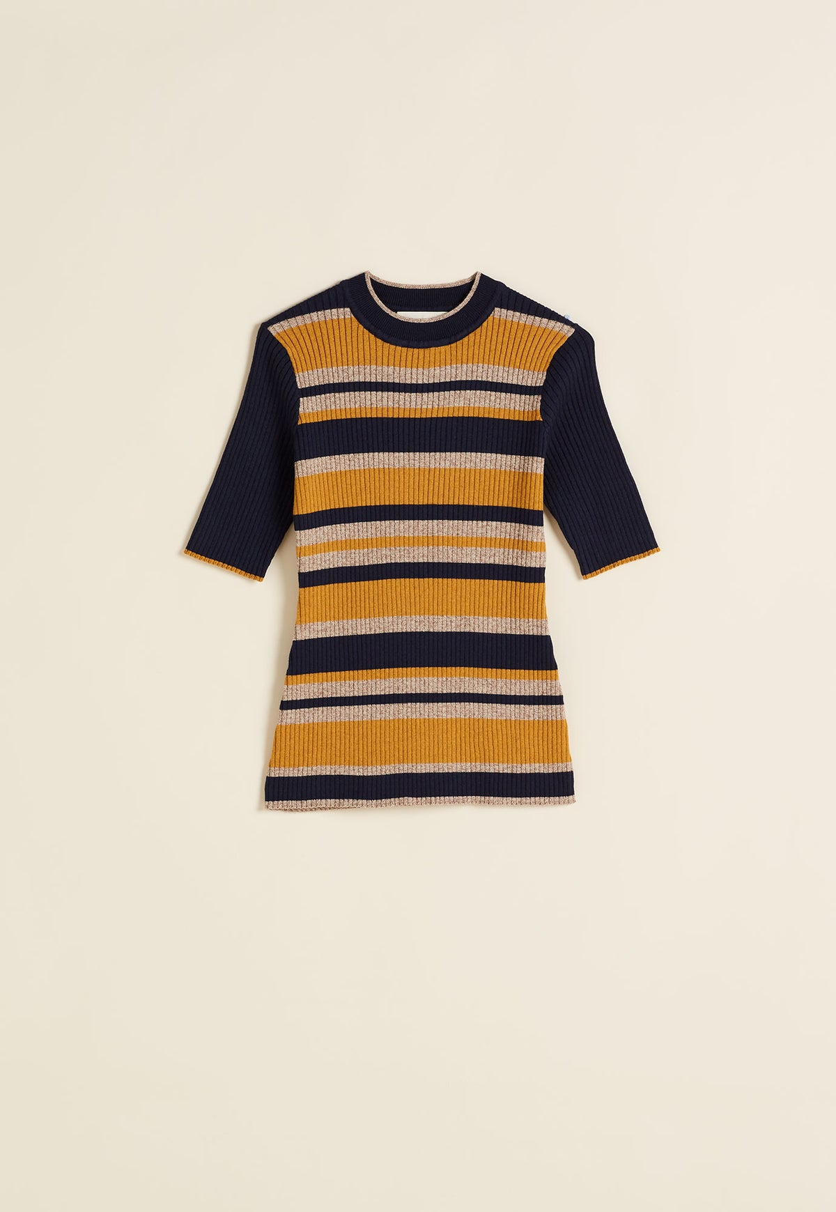 Rib Knit Short Sleeve - Navy