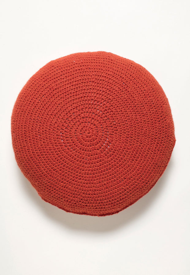 Knitted Round Cushion - Red