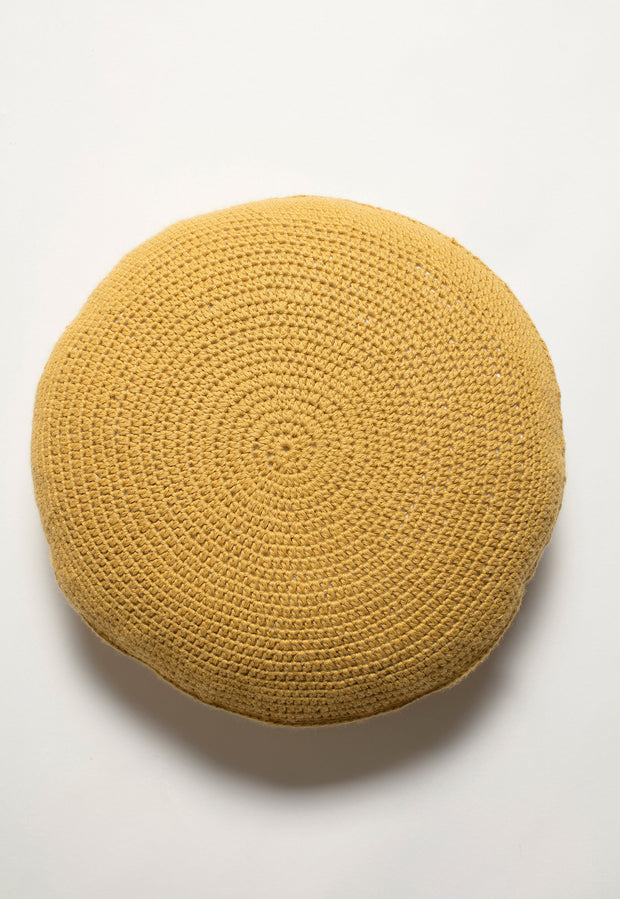 Knitted Round Cushion - Gold