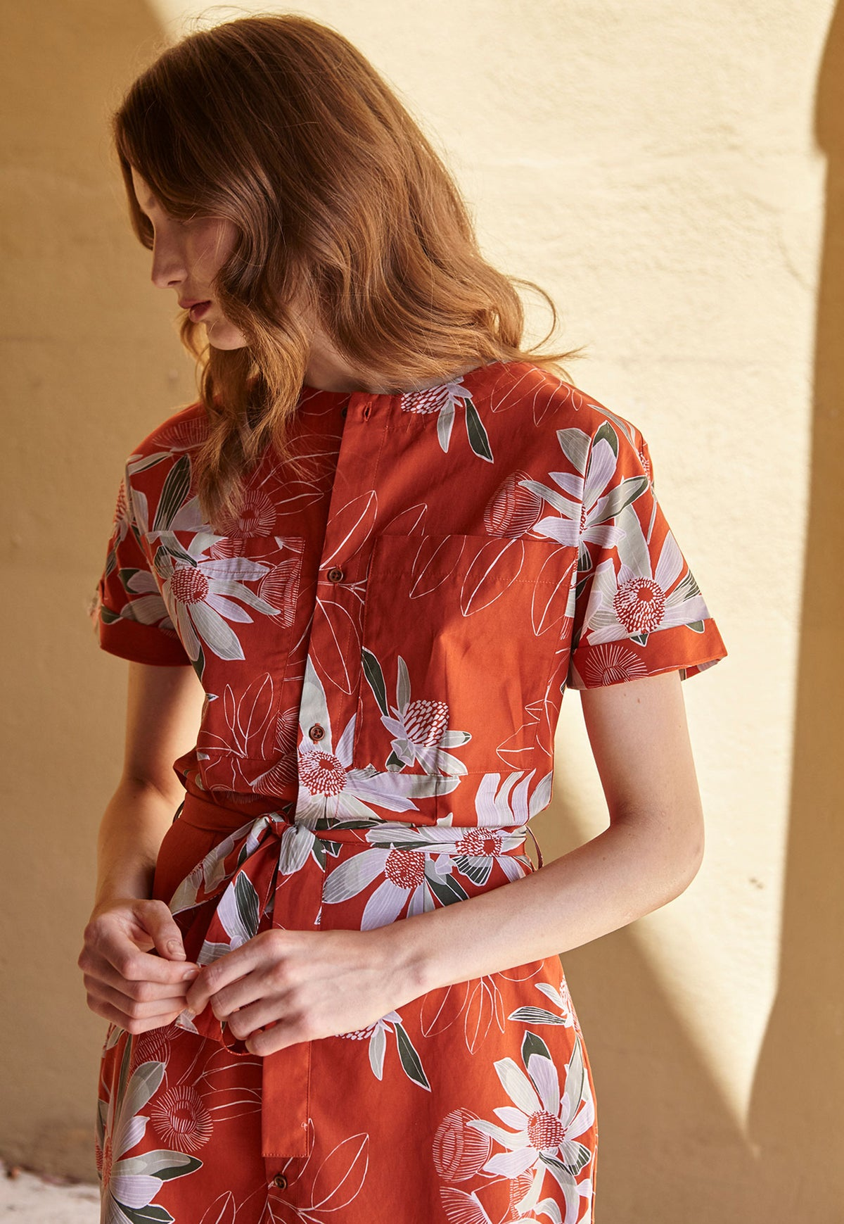 Shirt Dress - Rust Floral