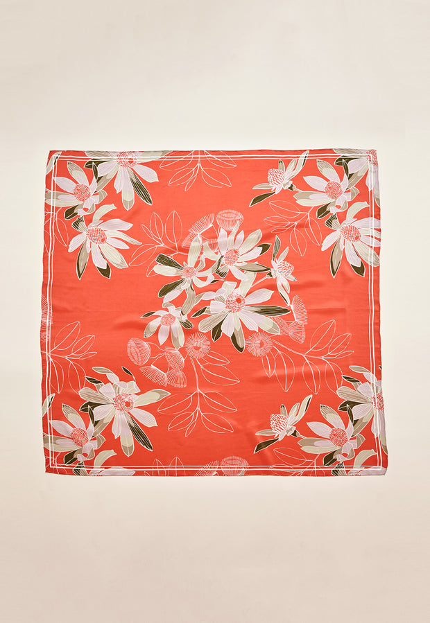 Silk Square - Rust Floral