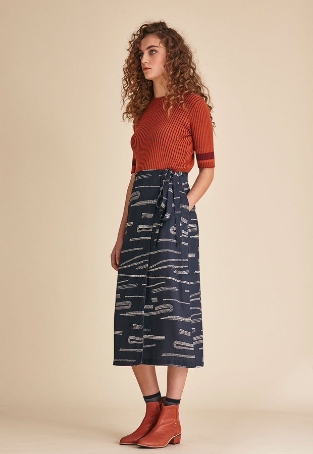 Wrap Skirt - Navy Mudflats