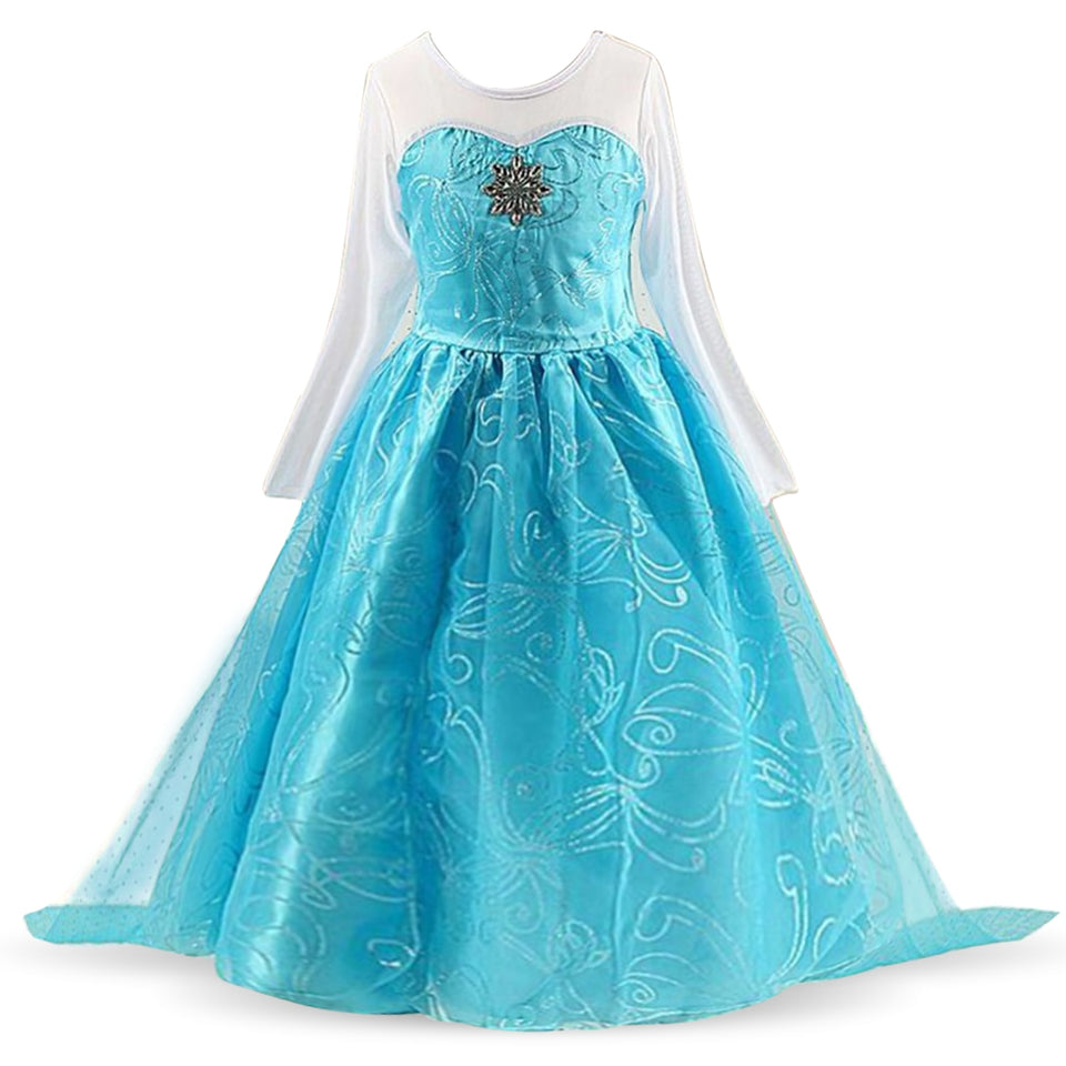 Fancy Girl Princess Dresses Sleeping Beauty Belle Beauty and the Beast Cosplay Costume Elsa Anna Dress Children Party Clothes