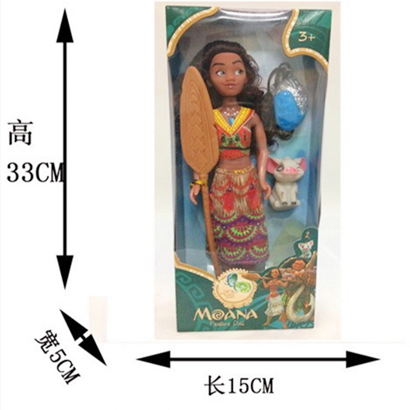 Disney Moana And Maui Figurines Heihei Action Figure Toy With Light For Kid Christmas Gift
