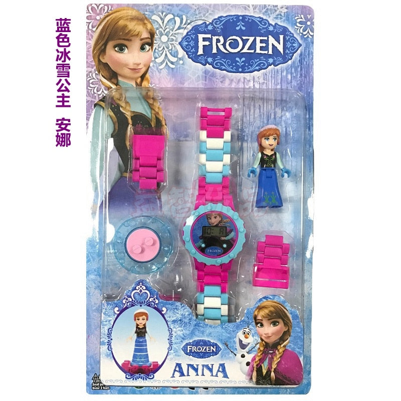 Disney Princesses Children Building Block Watches  - Fun Toys for Children Compatible all Brand Brick with Aurora, Cinderella, Moana, Anna & Elsa