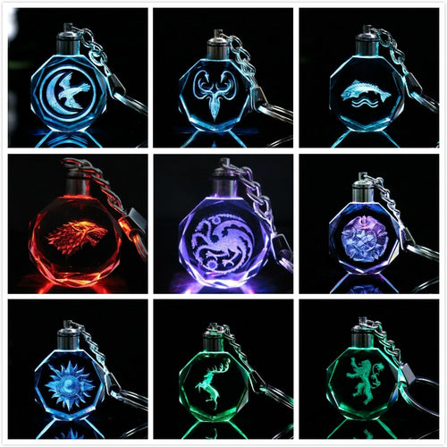 Game of Thrones' House LED Light Pendant Key Ring Laser Engraved Glass Shiny Prop Gift Keychain with Gift Box