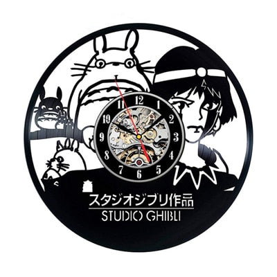 Studio Ghibli Totoro Wall Clock Cartoon My Neighbor Totoro Vinyl Record Clocks Wall Watch Home Decor Christmas Gift for Children