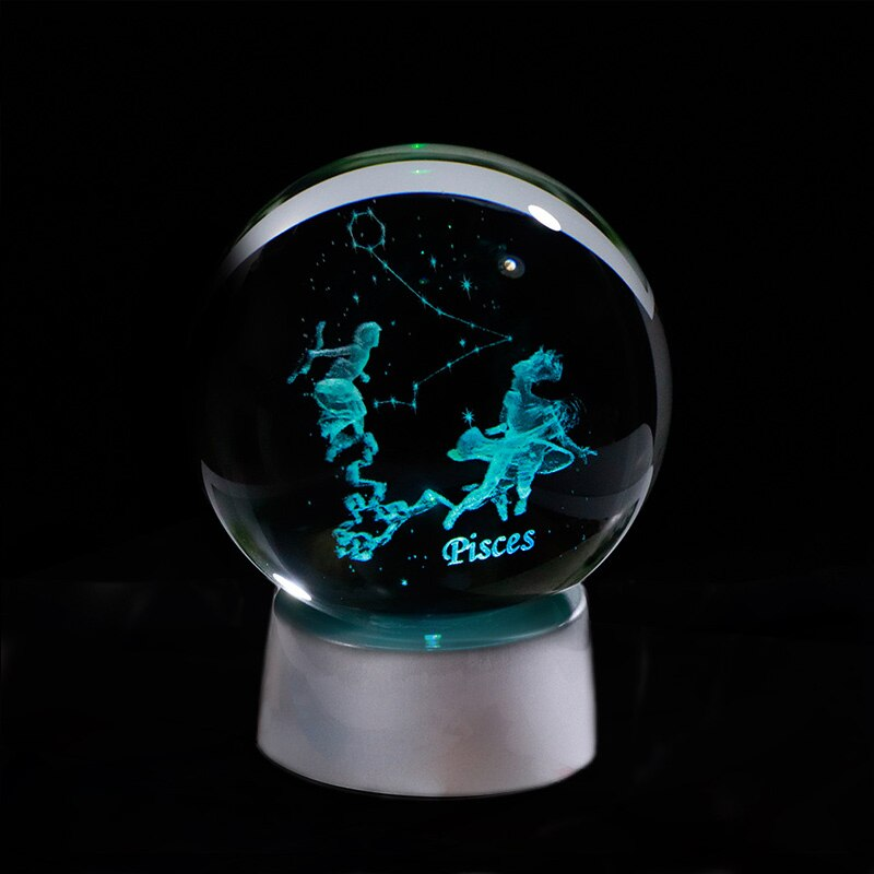 3D Zodiac Crystal Sphere with Colorful LED Light