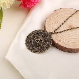 New Vintage Pirates of the Caribbean Aztec Gold Coin Necklace