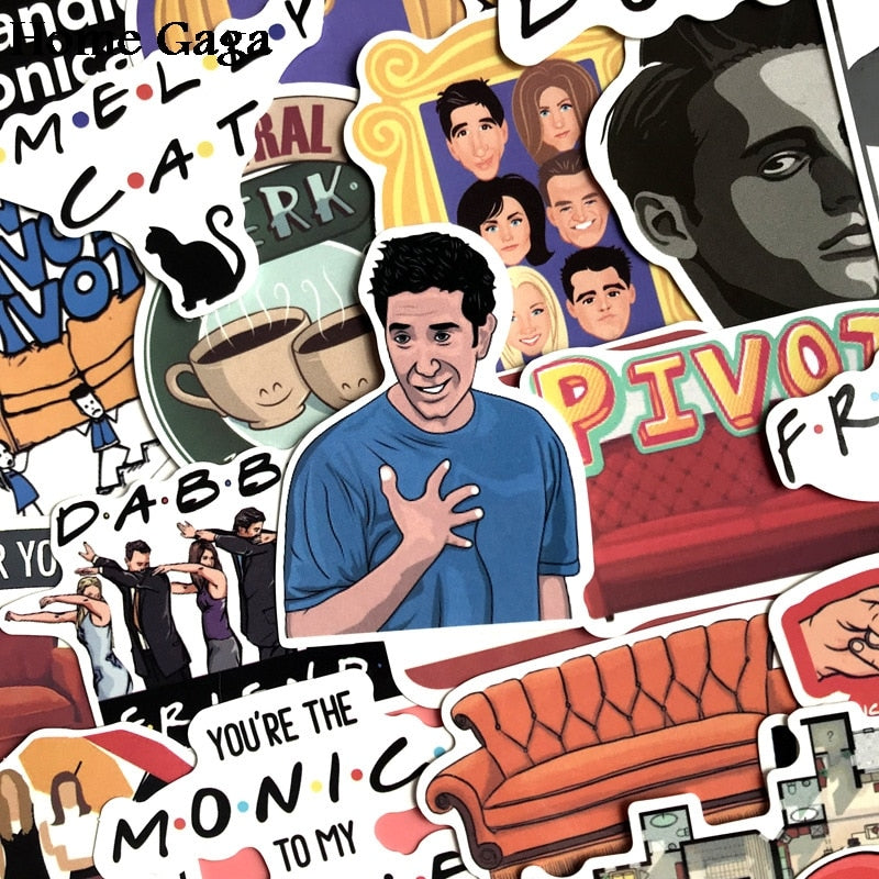 F.R.I.E.N.D.S TV Show Collectible Sticker for DIY Scrapbooks, Albums, Luggage, Laptop & Phone Sticker (34 Pieces)