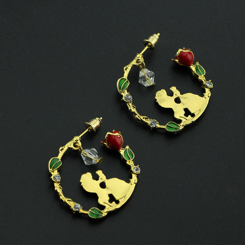 Beauty and the Beast Rose Earring with Swing Crystal