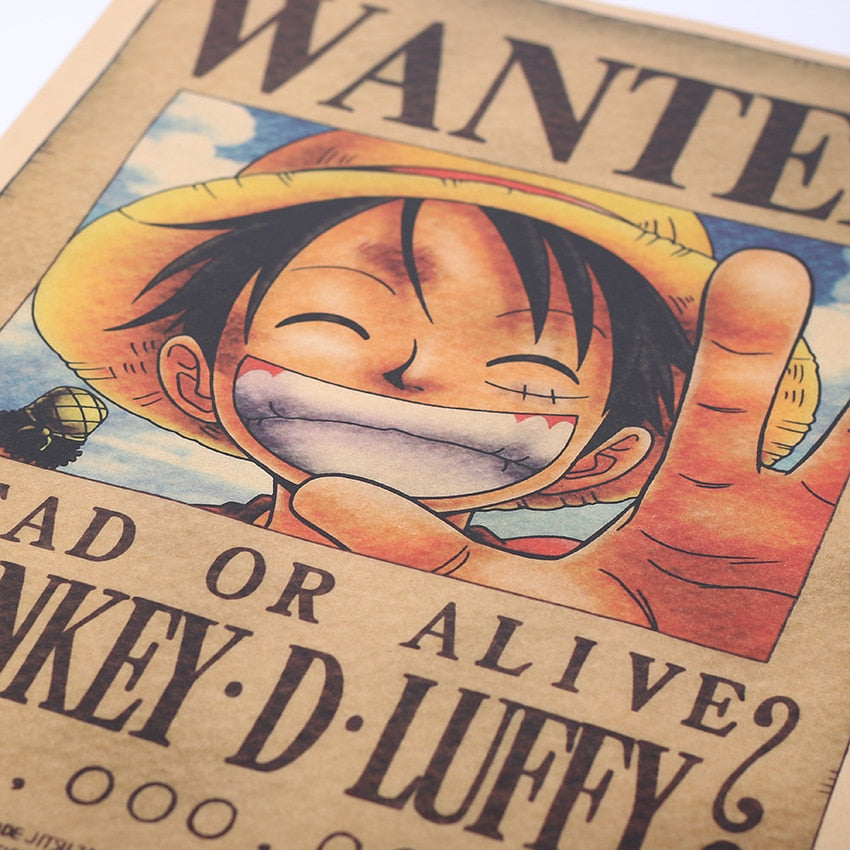 Cool Anime One Piece's Wanted Monkey D. Luffy Home Decor Wall Stickers